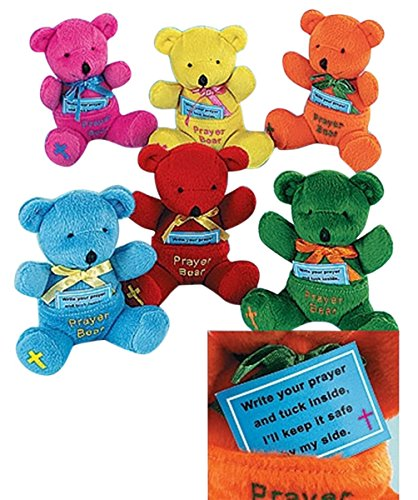 (Religious Gifts for Children Assorted Color Plush Prayer Bears with Blessing Storage Pouch, Pack of 12, 4 1/2 Inch)