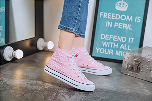 Sneakers YB Rock Men's Fashion Shoes Canvas Sports Punk Casual Flat Fashion Help Shoes Women's Rivet Canvas up Lace and Shoes Pink Emo Retro Heel High Gothic dXSxqwFXBr