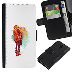 All Phone Most Case / Oferta Especial Cáscara Funda de cuero Monedero Cubierta de proteccion Caso / Wallet Case for Samsung Galaxy S4 IV I9500 // Blonde Girl