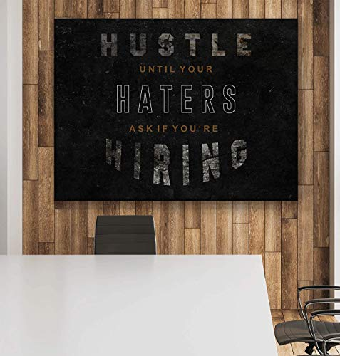 Hustle Motivational Wall Art Canvas Print, Office Decor, Inspiring Framed Posters, Inspirational Entrepreneur Quotes for Wall Art Decoration 12 x 18