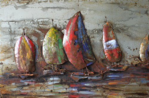 Empire Art Direct ''The Regatta 1'' Mixed Media Hand Painted Iron Wall Sculpture by Primo by Empire Art Direct