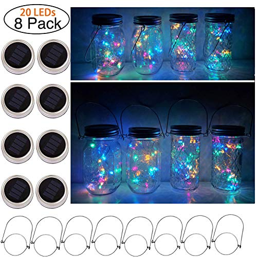 (Cynzia Solar Mason Jar Lid Lights, 8 Pack 20 LED Waterproof Fairy Star Firefly String Lights with 8 Hangers (Jar Not Included), for Mason Jar Lantern Table Garden Wedding Party)