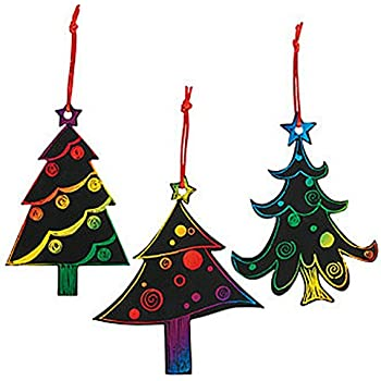 magic color scratch christmas tree ornaments 24 count crafts for kids ornament - Christmas Decoration Crafts