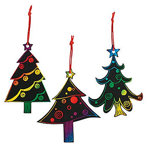 Magic Color Scratch Christmas Tree Ornaments 24 Count  Crafts for Kids amp Ornament Crafts