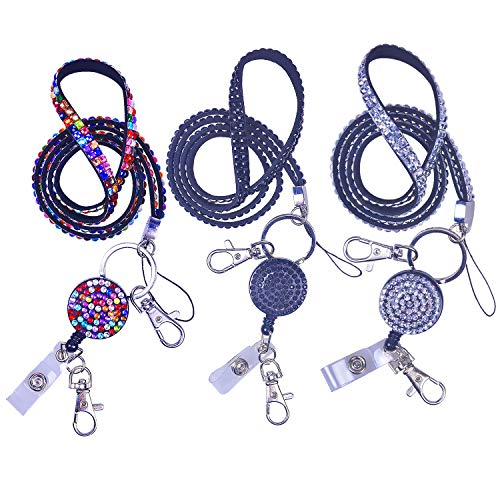 (Rancco Phone Neck Strap Lanyard w/Retractable Badge Holder Alligator Clip, Bling Rhinestones Detachable Name Tag Keychain Necklace for iPhone, ID Badge Holder,USB Flash Drive,3 Colors,21)