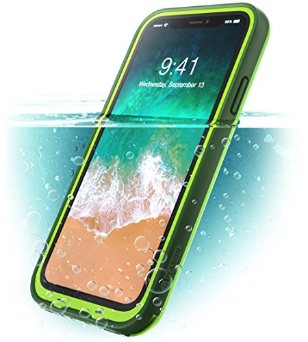 i-Blason iPhone X Case, iPhone Xs Case, [Aegis] Waterproof Full-Body Rugged Case with Built-in Screen Protector for Apple iPhone X (2017)/iPhone Xs (2018) (Frost/Green)