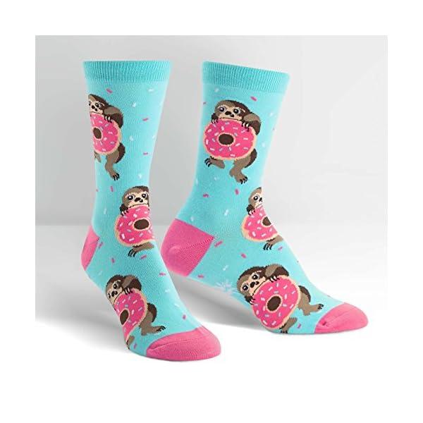 Sock It To Me Women'S Snackin' Sloth Donut Crew Socks -