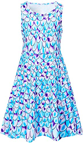 (Leapparel Little Girls Dress Sweet Printed Sleeveless Rond Neck Loose Dress Funny Fish Scales for 10-13 Years)