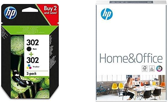 HP 302 - Paquete de ahorro de 2 cartuchos de tinta original, negro/tricolor, 117 x 38 x 157 mm & AmazonBasics Papel multiusos para impresora A4 80gsm, 1 paquete, 500 hojas, blanco: Amazon.es: Oficina y papelería