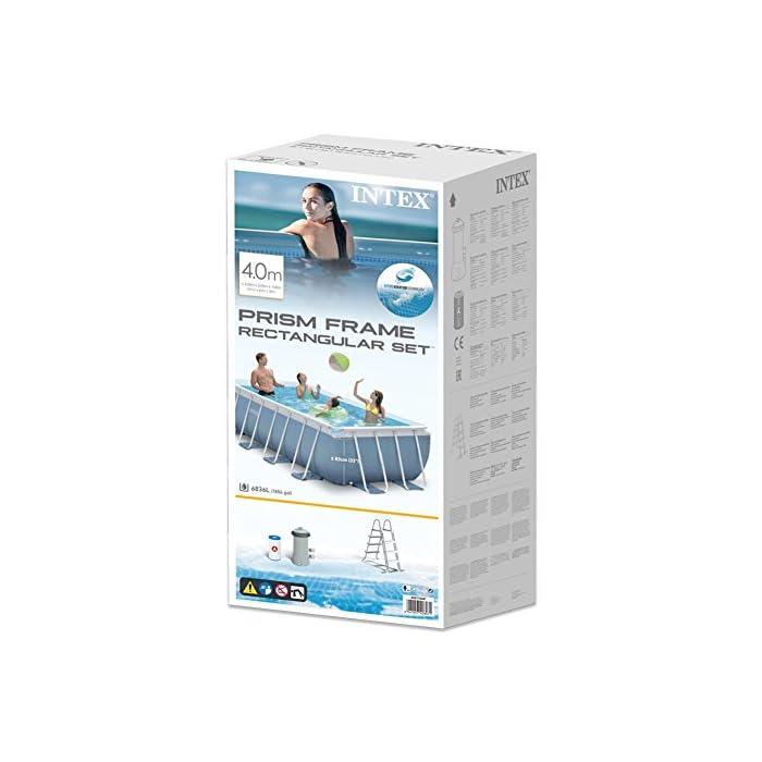 51WDujXmgnL Piscina desmontable tubular Intex de la línea Prisma Frame; medidas: 400 x 200 x 100 cm (rectangular); capacidad: 6.836 litros/agua; color liner: azul celeste Lona fabricada con tecnología Super-Tough de 3 capas laminadas de material extrafuerte que proporcionan resistencia y durabilidad Sistema de aireación Hydro Technology: mejora la filtración, aumenta la pureza del agua y mejora la cantidad de iones negativos sobre la superficie del agua piscina 400 x 200