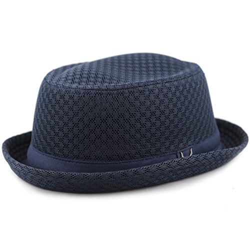 - The Hat Depot Light Weight Classic Soft Cool Mesh Porkpie hat (S/M, Navy)