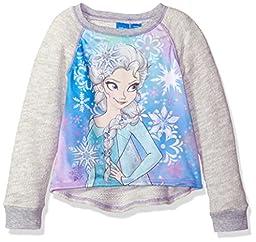 Disney Big Girls\' Frozen Elsa Long-Sleeve Pullover, Grey, 7/8