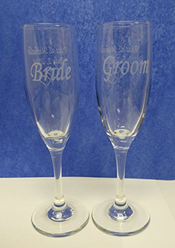 (2PC PERSONALIZED CHAMPAGNE FLUTES with 2 ENGRAVED AREAS)