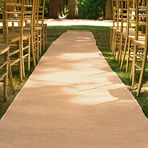 100 ft. x 3 ft. Wedding Aisle Runner Burlap Natural by LinenTablecloth