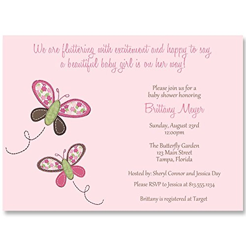 Butterfly Baby Shower Invitations, Butterfly Kisses, Baby Pink, Pink, It's A Girl, Fluttering with Excitement, Birthday, Butterflies, Invites, 10 Pack Custom Printed Invites and Envelopes