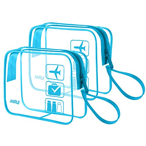Men ANRUI Bag Hand for Organizer Pouch Kids Travel with Clear Bag 2PCS blue Bags Toiletry Cosmetic 2 Makeup Luggage Strap Blue Women qdpTOWw
