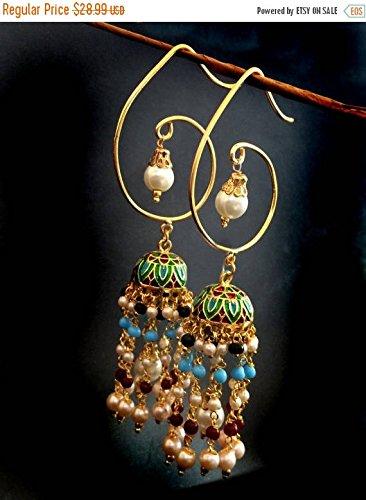 (Jhumkas,Long Chandelier Earrings,Kundan,Indian Jewellery,Pearl earrings,Dome style,wedding style Exclusive by Taneesi)