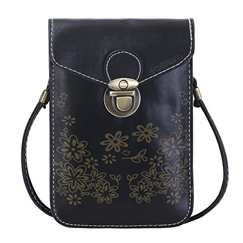 Bosam Soft Leather iPhone Crossbody Purses Cell Phone Wallet Pouch Small Cute Bags for Woman Girls (Black)