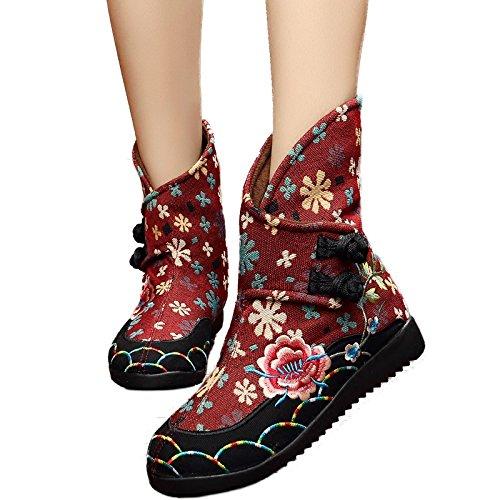 Bonbonne KHSKX Chaussures Bottes Talons Haut Tissu L'Automne Vieux Thirty Seule Bottes De À Brodé Du Bas De Bottes five Beijing La Et Bottines Éolienne UUCqr