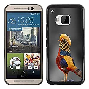 PC/Aluminum Funda Carcasa protectora para HTC One M9 grey blurry nature tropical bird yellow / JUSTGO PHONE PROTECTOR