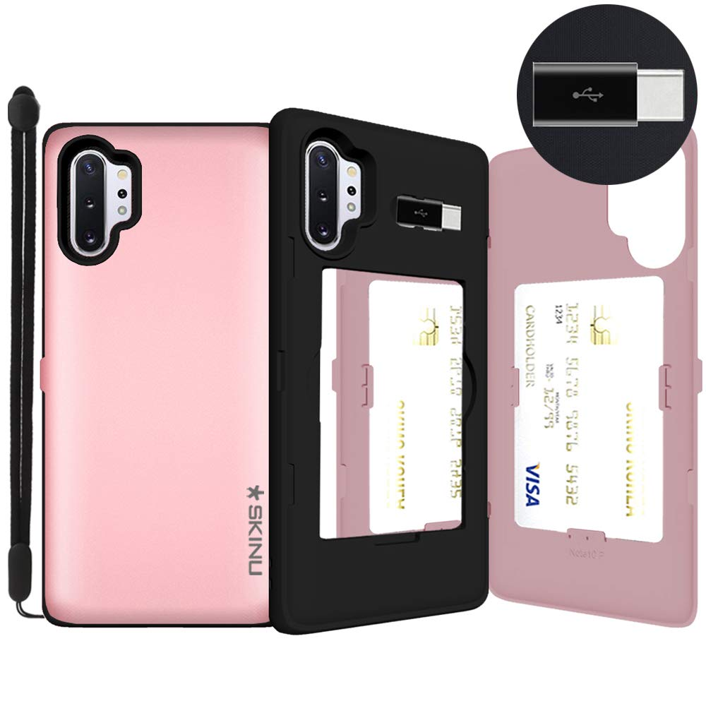 SKINU for Galaxy Note 10 Plus, with Credit Card Holder ID Slot Case with Wrist Strap Inner USB Type C Adapter and Mirror for Galaxy Note 10 Plus 5G Case 6.8 inch (2019) - Rose Gold by SKINU KOREA
