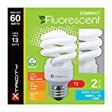 Compact Fluorescent Light Bulb T2 Spiral CFL, 4100k Cool White, 13W (60 Watt Equivalent), 900 Lumens, E26 Medium Base, 120V, UL Listed