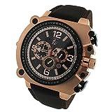 kc techno - Mens Quartz Techno Com Kc 57mm Wej Genuine 1.75ct Black Diamonds Rose Tone Watch