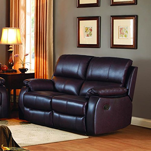 Homelegance Jedidiah Double Reclining Loveseat with Top Grain Leather Match, Chocolate
