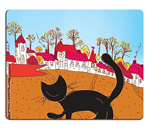 Pediment Top - Qzone Mousepads Fairytale autumn town and cat card IMAGE 12009685 Customized Art Desktop Laptop Gaming mouse Pad