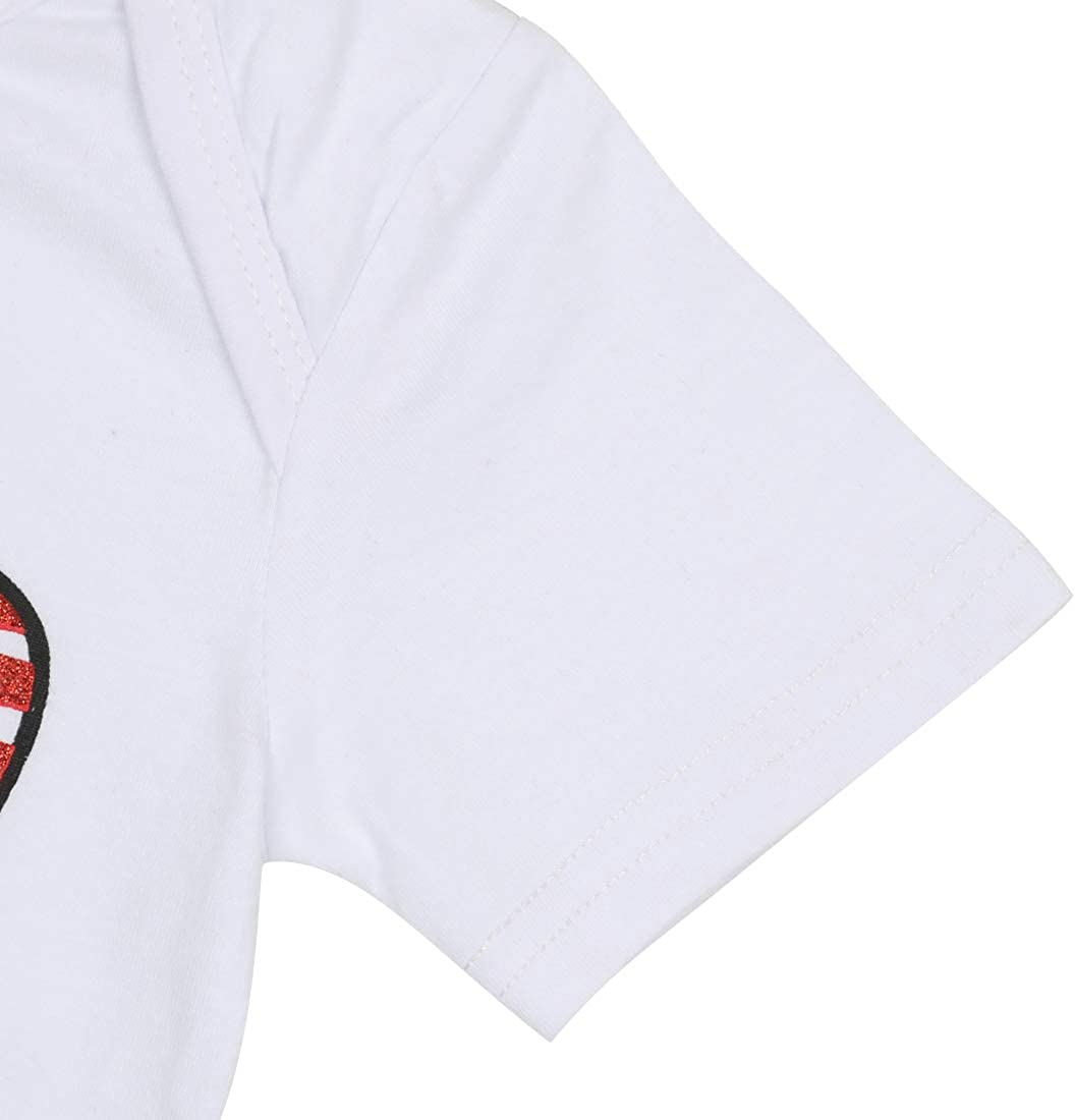 UNIQUEONE 3Pcs Baby Girls Merica Flag Stars Print Romper Bodysuit+Sequins Shorts+Headbands Sets