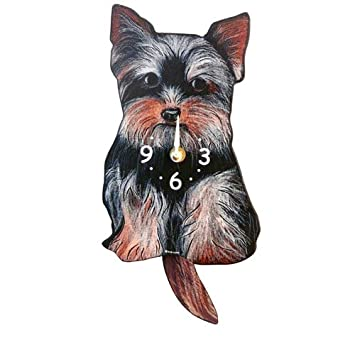 Swinging-Tail Pendulum Dog Clock – Yorkshire Terrier Yorkie by Pink Cloud