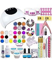 Warm Girl Akryl nagelkit 36 W UV-nagellampa 3 färger UV nagelgel akrylpulver och akrylvätska set 24 färger glitterpulver akryl flytande nagelkonstset