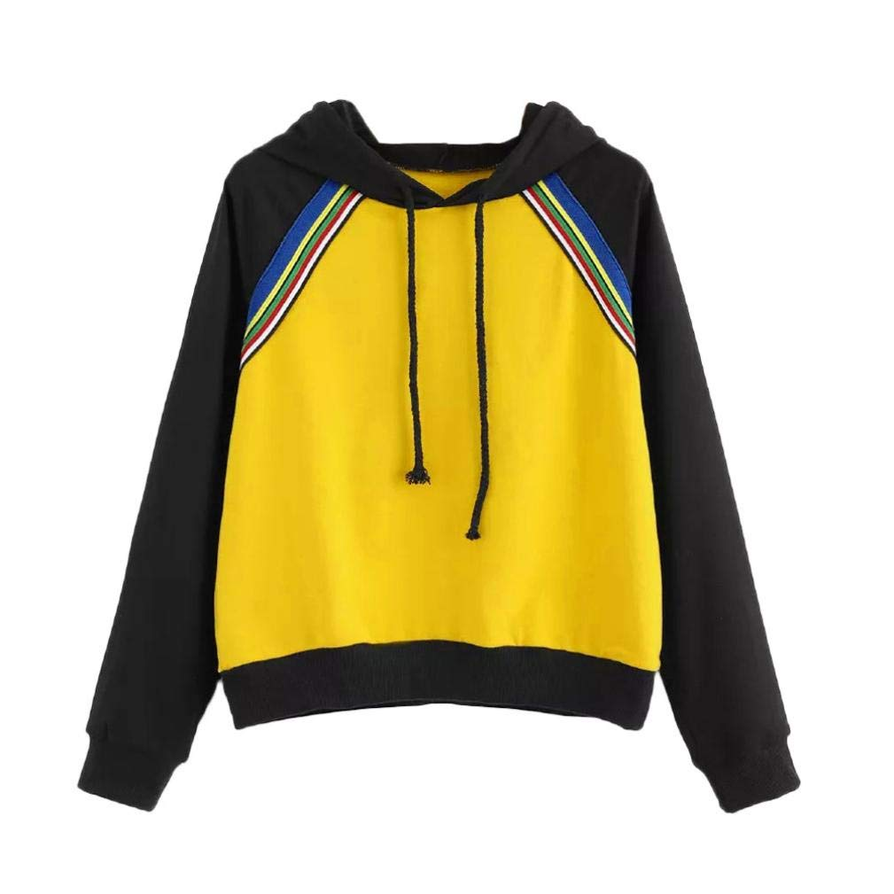 Clearance Sale Womens Long Sleeve Hoodie Sweatshirt Jumper Hooded Pullover Tops Blouse (S, Yellow)