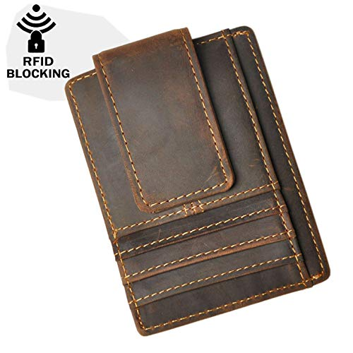 Le'aokuu Real Leather RFID Blocking Magnet Money Clip Credit Card Case Holder Slim Wallet (Dark Brown 1 Rfid)