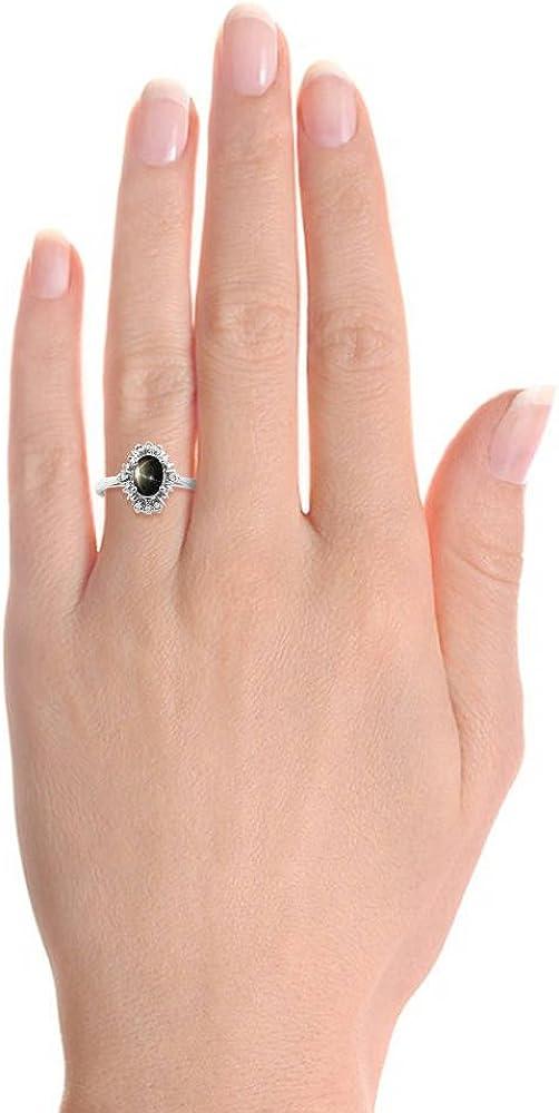 Diamond /& Black Star Sapphire Ring Set In Sterling Silver Fanned Diamonds