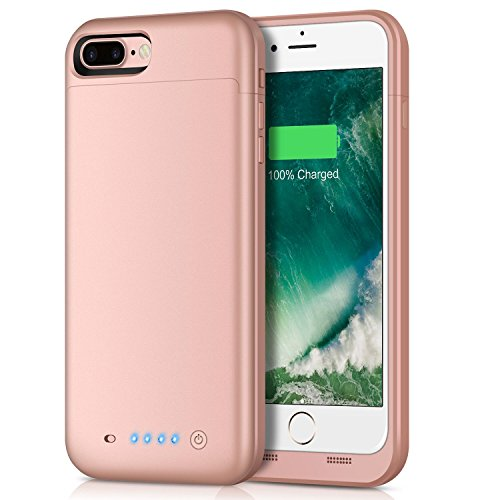 Battery Case for iPhone 8 Plus/7 Plus,7000mAh Battery Pack Charger Case for 8 Plus Extended Portable Battery Charging Case for iPhone 7 Plus,8 Plus - Gold