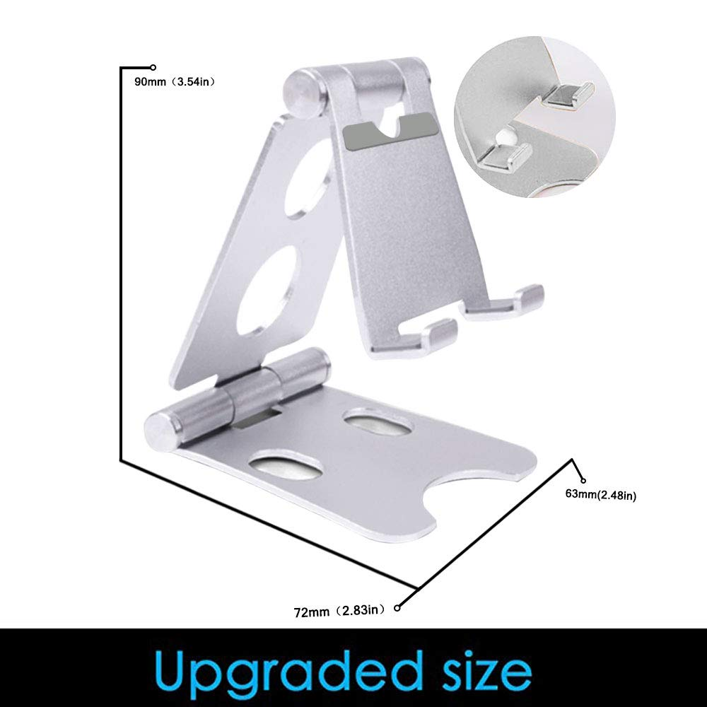 SLUB Cell Phone Stand Dual Adjustable Aluminum Foldable Phone Holder for Desk with Anti-Slip Base Convenient Charging Port Compatible with All Android Smartphone(Silver)