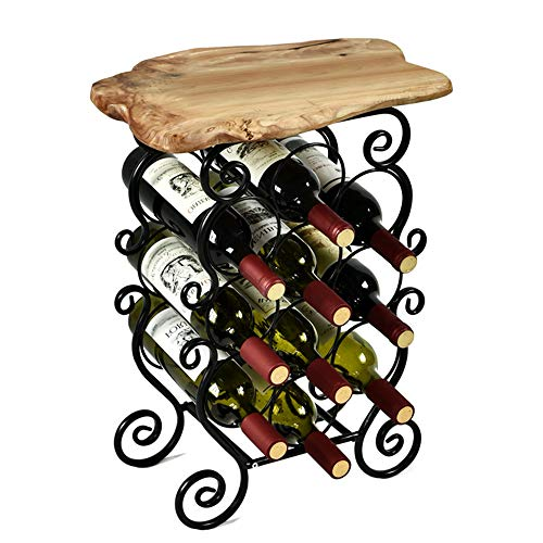 WELLAND Magen 10 Bottle Wine Rack with Natural Edge Table Top, Metal & Wood Free Standing Floor Wine Storage Rack, Easy to Assemble