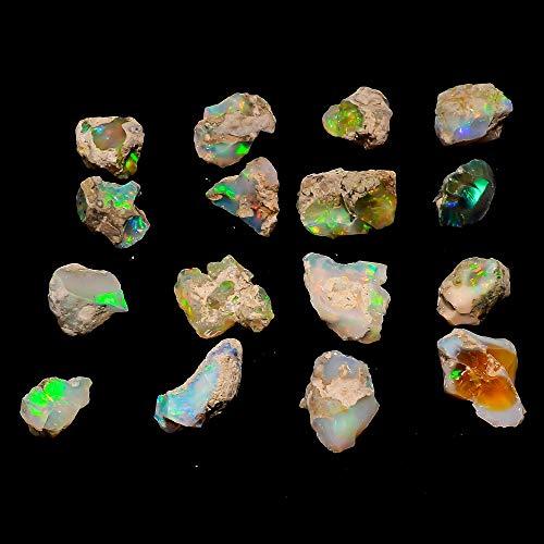 Gemkora Ultra Fire Opal Rough Gemstone, Raw Crystals Gemstone, Ethiopian Opal Rock, Jewelry Making Supplies, Chakra Healing, Energy Stone, Meditation, ART-CRAFTS-DIY Stone, 25 carats, 4 to 5pcs
