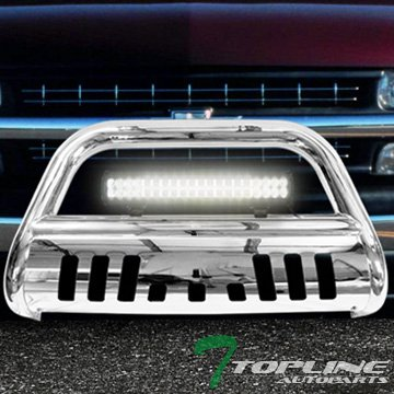 Topline Autopart Stainless Steel Chrome HD Bull Bar Brush Push Front Bumper Grill Grille Guard V2 w/ Skid Plate + 120W Cree LED Fog Light Lamp 99-07 Chevy Silverado Suburban GMC Sierra (06 Silverado Push Bar)