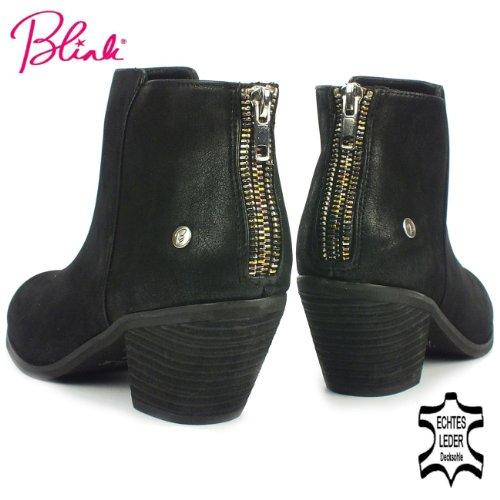 BLINK Damen Winter Stiefelette, Western-Style, Zierreißverschluss, schwarz antik