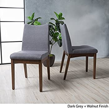 Amazon.com - Gertrude Dark Grey Fabric with Walnut Finish Mid ...
