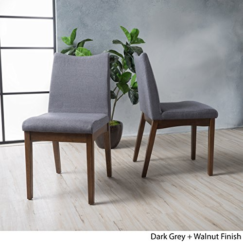 - Gertrude Dark Grey Fabric with Walnut Finish Mid Century Modern Dining Chairs (Set of 2)