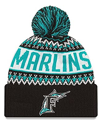 New Era Florida Marlins MLB Cooperstown Wintry Pom Cuffed Knit Hat with Pom