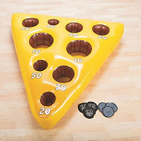 amazon com inflatable mouse and cheese toss game toys games