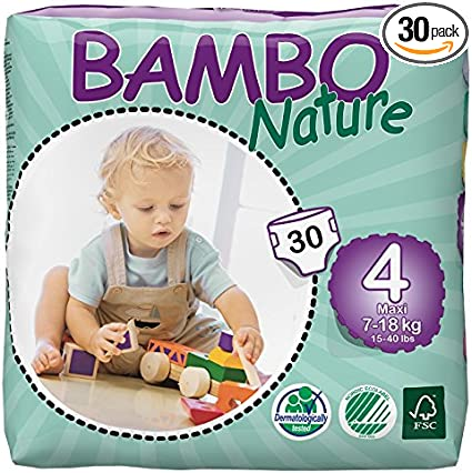 Bambo Nature Maxi Baby Diapers Size 4  180 count Pack of 6
