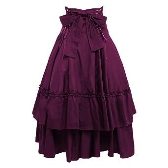 hibote Mujer Vintage Faldas Largo - Medieval Steampunk Maxi Falda ...