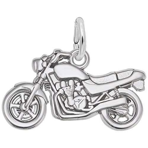 Motorcycle Charm In 14k White Gold, Charms for Bracelets and Necklaces