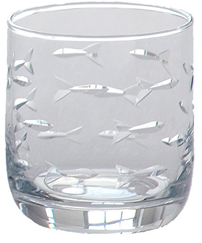 Nautical Tropical Imports School of Fish Room Tumbler Glasses 10oz Set of 4 -