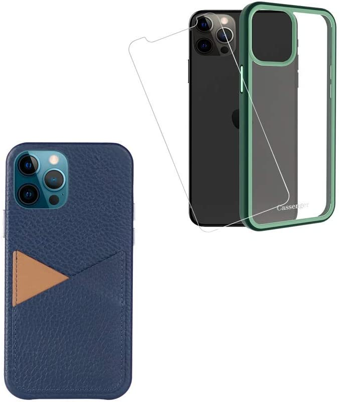 Cassenger Classic Series Deep Blue Leather Wallet Case Compatible with iPhone 12/12 Pro + Cassenger Midnight Green Protective Case Compatible with iPhone 12/12 Pro [1 Screen Protector]